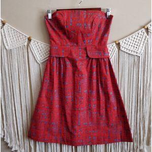 Anthropologie Tabitha Red Strapless Pattern Dress